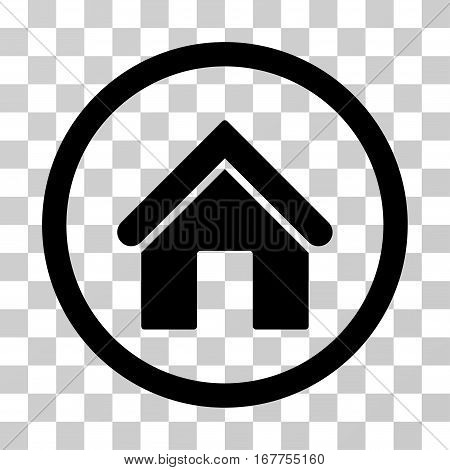 Home rounded icon. Vector illustration style is flat iconic symbol inside a circle, black color, transparent background. Designed for web and software interfaces.