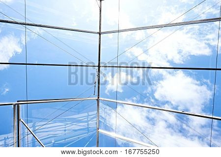 glass ceiling glasshouse hamburg 2016 sky blue