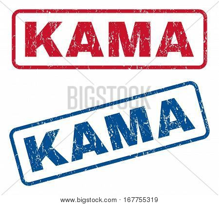 Kama text rubber seal stamp watermarks. Vector style is blue and red ink caption inside rounded rectangular shape. Grunge design and scratched texture. Blue and red signs.