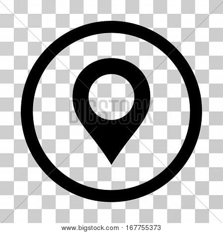 Map Marker rounded icon. Vector illustration style is flat iconic symbol inside a circle, black color, transparent background. Designed for web and software interfaces.