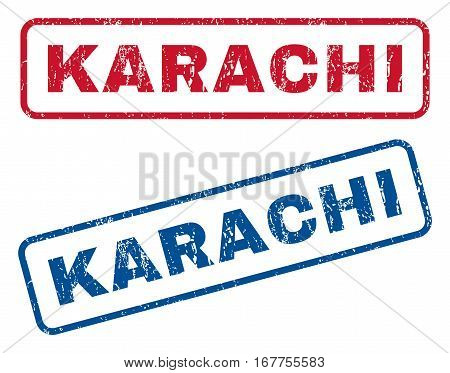 Karachi text rubber seal stamp watermarks. Vector style is blue and red ink caption inside rounded rectangular banner. Grunge design and unclean texture. Blue and red signs.