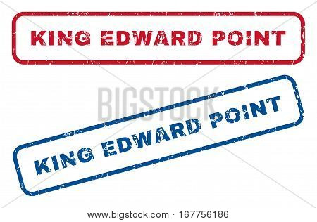 King Edward. text rubber seal stamp watermarks. Vector style is blue and red ink tag inside rounded rectangular shape. Grunge design and unclean texture. Blue and red signs.