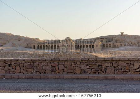 a building near Recreated Hatshepsut Temple in mountains near Valley of Kingsin Egypt