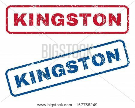 Kingston text rubber seal stamp watermarks. Vector style is blue and red ink tag inside rounded rectangular banner. Grunge design and dust texture. Blue and red stickers.