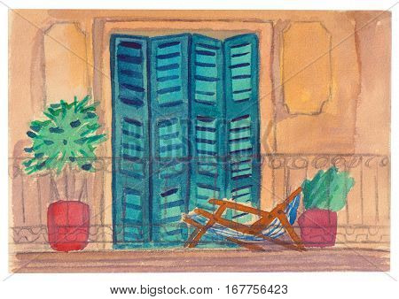 Colorful balcony or an open terrace with shutters, a chaise-longue and a palm tree in the pot. Watercolor postcard.