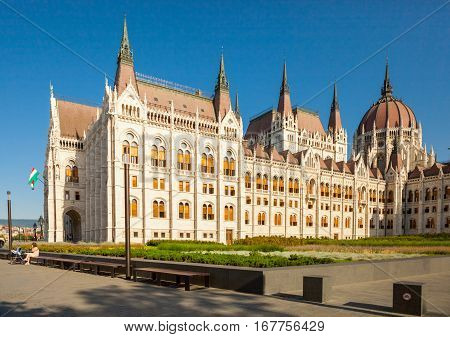 Budapest, Hungary - June 16, 2016: Hungarian Parliament Building Located At The Bank Of The Dunabe C