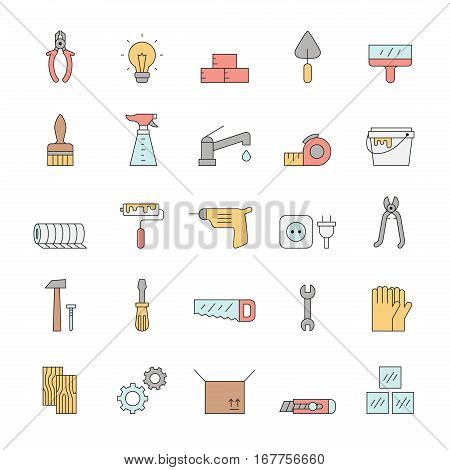 Home repair and construction outline multicolored vector icon set. Clean and simple design.