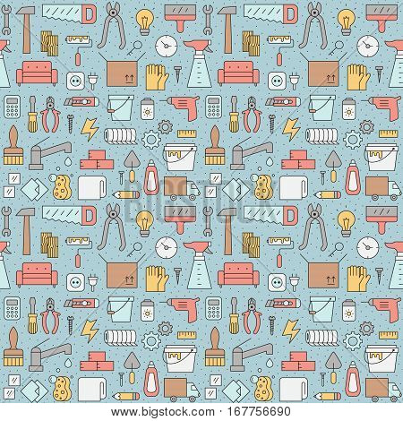 Home repair and construction outline multicolored vector seamless pattern. Clean and simple design.