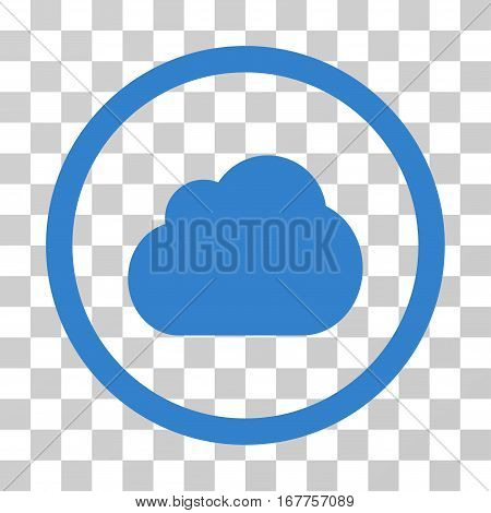Cloud rounded icon. Vector illustration style is flat iconic symbol inside a circle, cobalt color, transparent background. Designed for web and software interfaces.