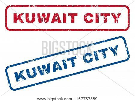 Kuwait City text rubber seal stamp watermarks. Vector style is blue and red ink tag inside rounded rectangular shape. Grunge design and unclean texture. Blue and red signs.