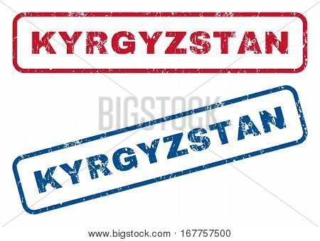 Kyrgyzstan text rubber seal stamp watermarks. Vector style is blue and red ink caption inside rounded rectangular shape. Grunge design and scratched texture. Blue and red signs.