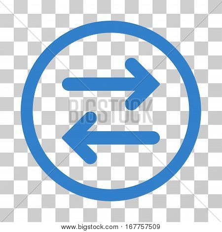 Flip Horizontal rounded icon. Vector illustration style is flat iconic symbol inside a circle, cobalt color, transparent background. Designed for web and software interfaces.