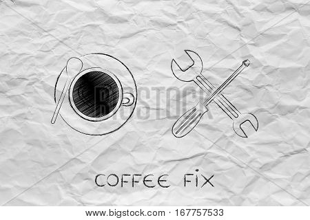 Coffee Fix, Cup & Wrench Illustration