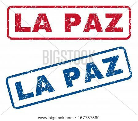 La Paz text rubber seal stamp watermarks. Vector style is blue and red ink caption inside rounded rectangular shape. Grunge design and dust texture. Blue and red signs.