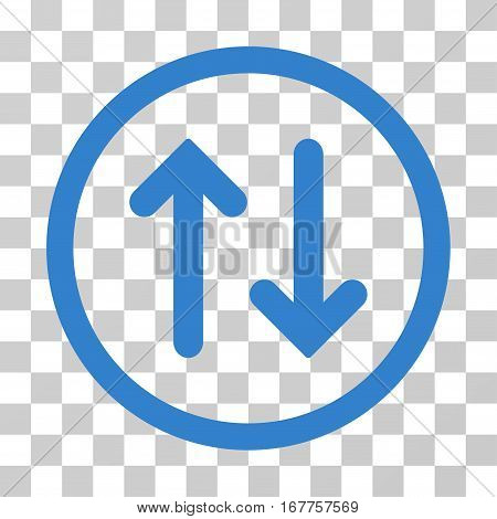 Flip rounded icon. Vector illustration style is flat iconic symbol inside a circle, cobalt color, transparent background. Designed for web and software interfaces.