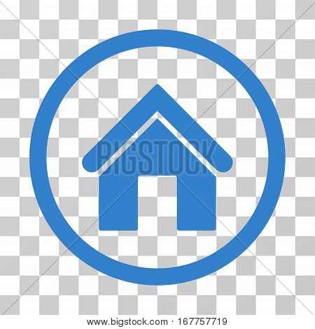 Home rounded icon. Vector illustration style is flat iconic symbol inside a circle, cobalt color, transparent background. Designed for web and software interfaces.