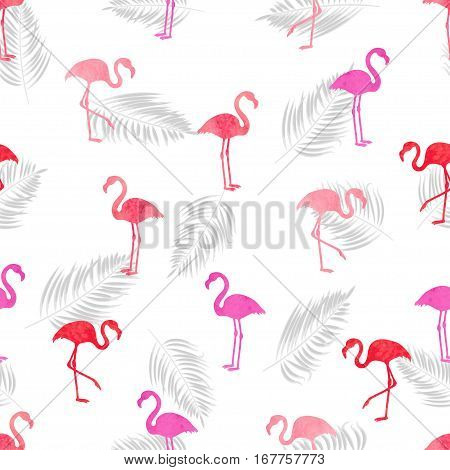 Flamingo seamless pattern. Vector background design with pink and red flamingos.