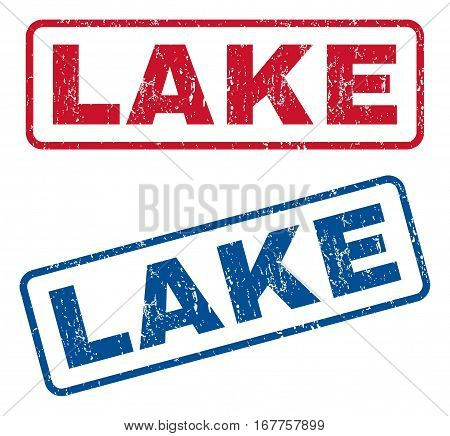Lake text rubber seal stamp watermarks. Vector style is blue and red ink tag inside rounded rectangular banner. Grunge design and dirty texture. Blue and red signs.