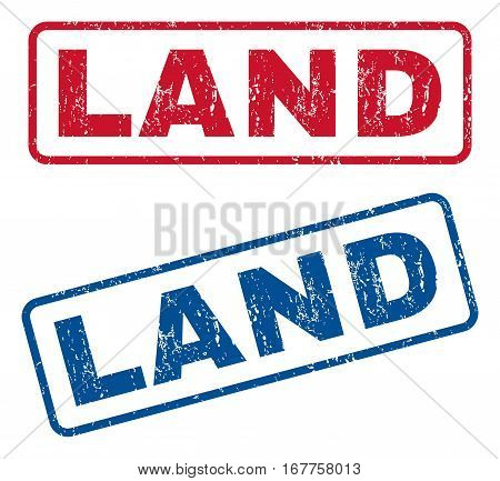 Land text rubber seal stamp watermarks. Vector style is blue and red ink tag inside rounded rectangular banner. Grunge design and dust texture. Blue and red signs.