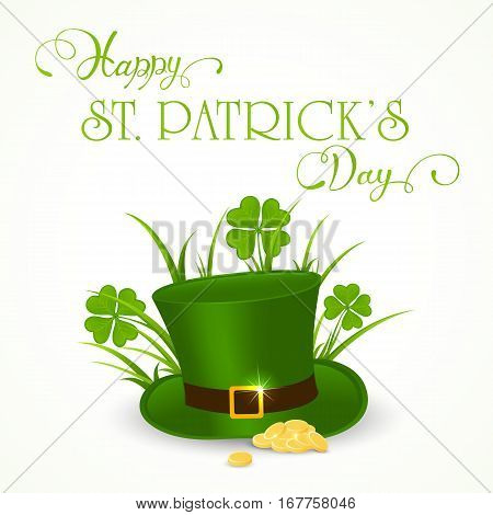 Clover with grass, golden coins and green hat of leprechaun on white background, holiday lettering Happy St. Patrick's Day, illustration.