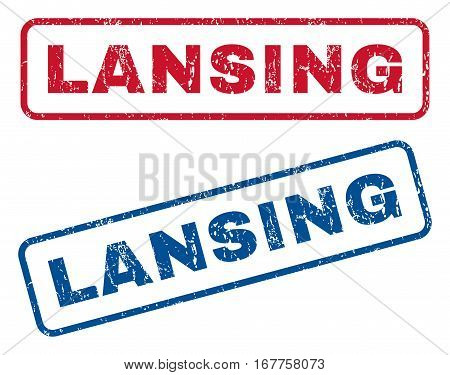 Lansing text rubber seal stamp watermarks. Vector style is blue and red ink caption inside rounded rectangular shape. Grunge design and unclean texture. Blue and red emblems.