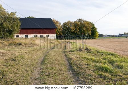A small road and a red farmhouse