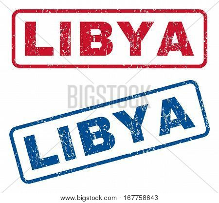 Libya text rubber seal stamp watermarks. Vector style is blue and red ink caption inside rounded rectangular banner. Grunge design and unclean texture. Blue and red stickers.
