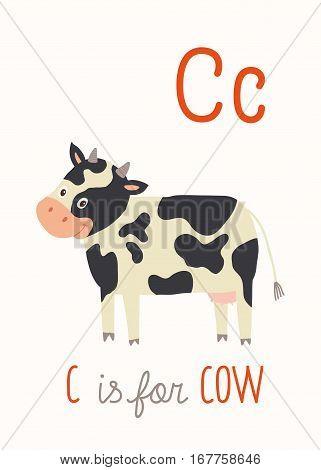 C is for Cow. ABC Kids Wall Art. Farm Alphabet Card. Nursery alphabet poster wall art. Playroom decor. Funny piggy. Cartoon clipart eps 10 illustration isolated on white background.