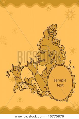 Lord Krishna abstract background with space for text