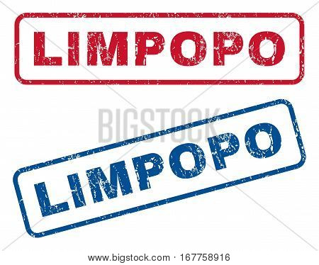 Limpopo text rubber seal stamp watermarks. Vector style is blue and red ink caption inside rounded rectangular shape. Grunge design and dust texture. Blue and red stickers.