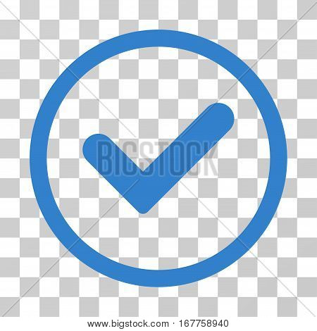 Yes rounded icon. Vector illustration style is flat iconic symbol inside a circle, cobalt color, transparent background. Designed for web and software interfaces.