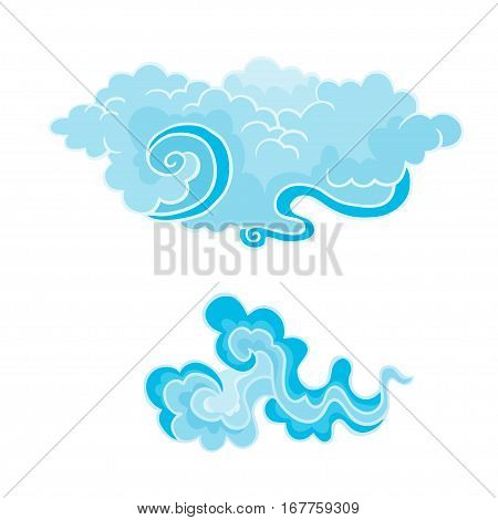 Cartoon Clouds Set in east style. Illustration of a collection of various vector cartoon clouds isolated on white.
