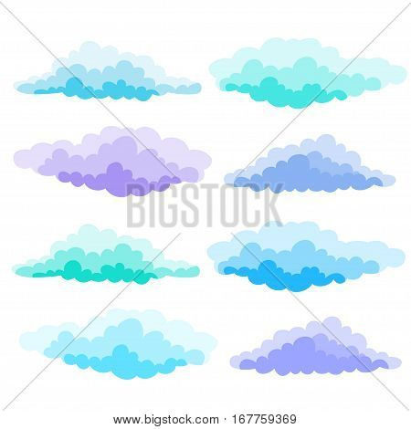 Cartoon Color Clouds Set. Illustration of a collection of various vector cartoon clouds isolated on white.