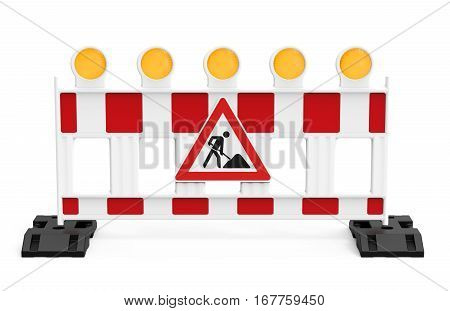 Street barrier with traffic sign isolated on white background 3D rendering