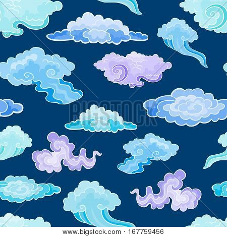 Cartoon Color Clouds Seamless Pattern. Background with various vector cartoon clouds on blue night sky