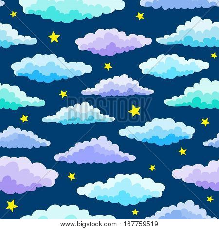 Cartoon Color Clouds Seamless Pattern. Background with various vector cartoon clouds and stars on blue night sky