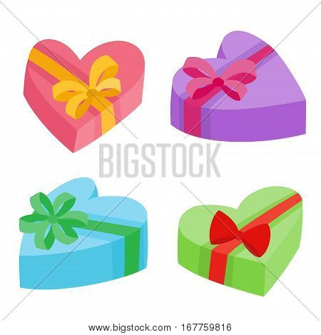 Valentines days presents collection. Vector illustration of cartoon gifts in bag isolated on white