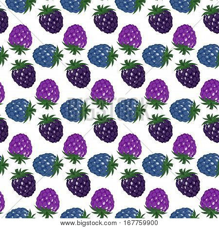 Seamless Background With Multi-colored Raspberries And Blackberries. Pattern.