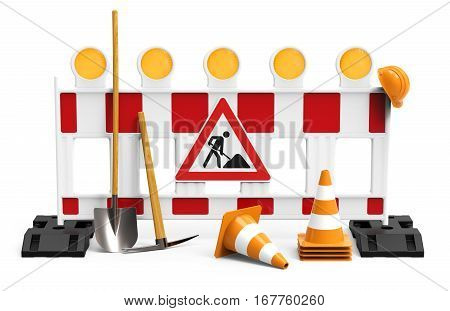 Street barrier with shovel traffic sign traffic cone and safety helmet isolated on white background 3D rendering