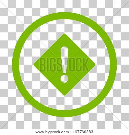 Error rounded icon. Vector illustration style is flat iconic symbol inside a circle, eco green color, transparent background. Designed for web and software interfaces.