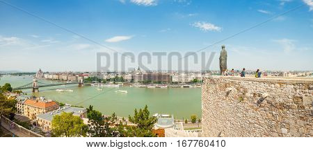Budapest, Hungary - June 15, 2016: Panoramic View Of Dunabe River With Chain Bridge Connecting Buda