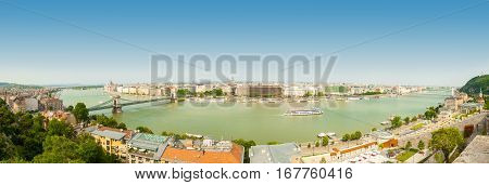Budapest, Hungary - June 15, 2016: Panoramic View Of Dunabe River With Famous Chain Bridge Connectin