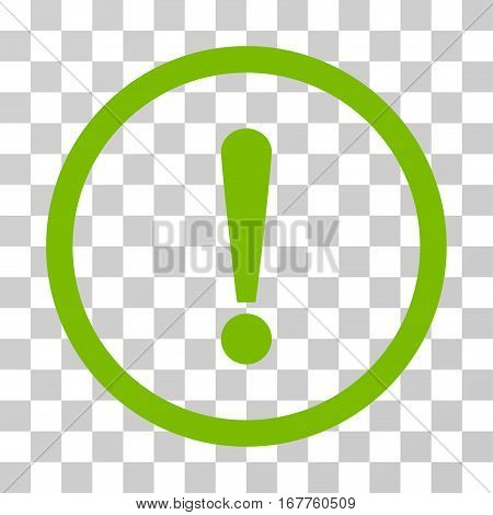 Exclamation Sign rounded icon. Vector illustration style is flat iconic symbol inside a circle, eco green color, transparent background. Designed for web and software interfaces.
