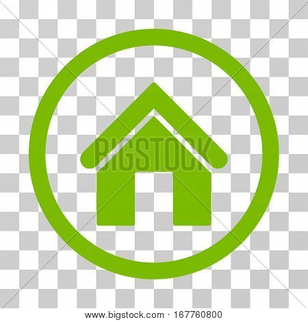 Home rounded icon. Vector illustration style is flat iconic symbol inside a circle, eco green color, transparent background. Designed for web and software interfaces.
