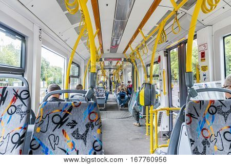 Moscow Russia - July 8 2016: the Interior of a modern tram in Moscow.