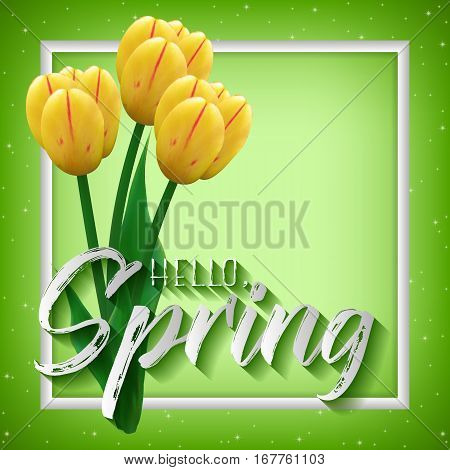 Spring positive postcard for greetings with beginning of spring. Bouquet of realistic yellow tulips in white frame on green sparkling background. Vector illustration
