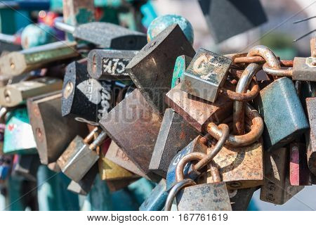 Padlocks of love on the Tumski bridge in Wroclaw. Poland