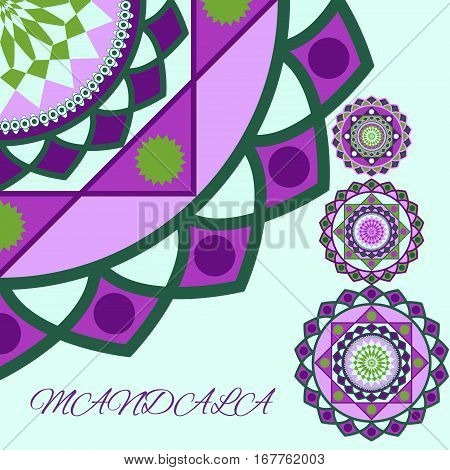 beautiful unusual pattern green and lilac, mandala, the layout with text, vector illustration