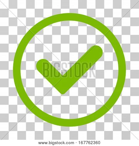 Yes rounded icon. Vector illustration style is flat iconic symbol inside a circle, eco green color, transparent background. Designed for web and software interfaces.