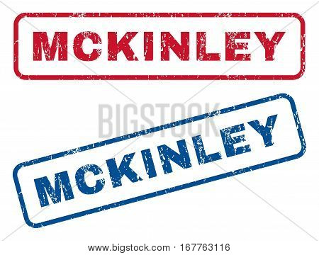 Mckinley text rubber seal stamp watermarks. Vector style is blue and red ink tag inside rounded rectangular shape. Grunge design and unclean texture. Blue and red signs.